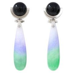Art Deco Onyx and Jadeite Jade Drop Earclips