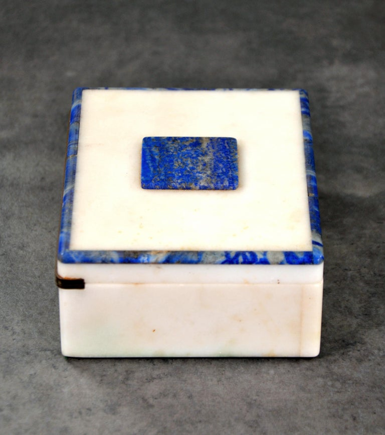 Early 20th Century Art Deco Onyx and Lapis Box For Sale