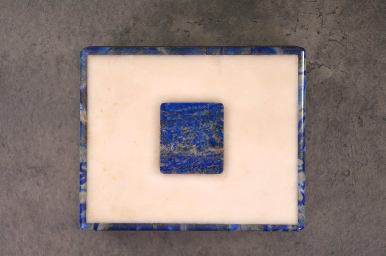 Brass Art Deco Onyx and Lapis Box For Sale