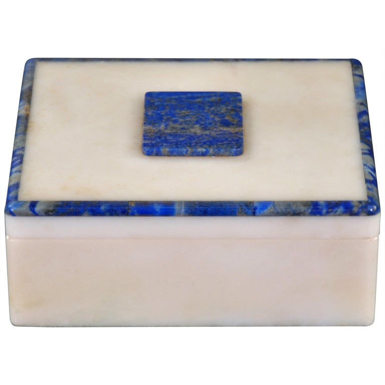 Art Deco Onyx and Lapis Box For Sale