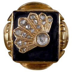 Art Deco Onyx and Rose Cut Diamond Chunky Signet Ring in 14ct Yellow Gold