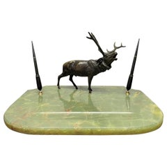 Art Deco Onyx Blotter with Bronze Elk Statue and Fountain Pens