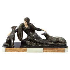 Art Deco Onyx, Bone & Silver Pewter Lady w/ Greyhounds Sculpture, After Chiparus