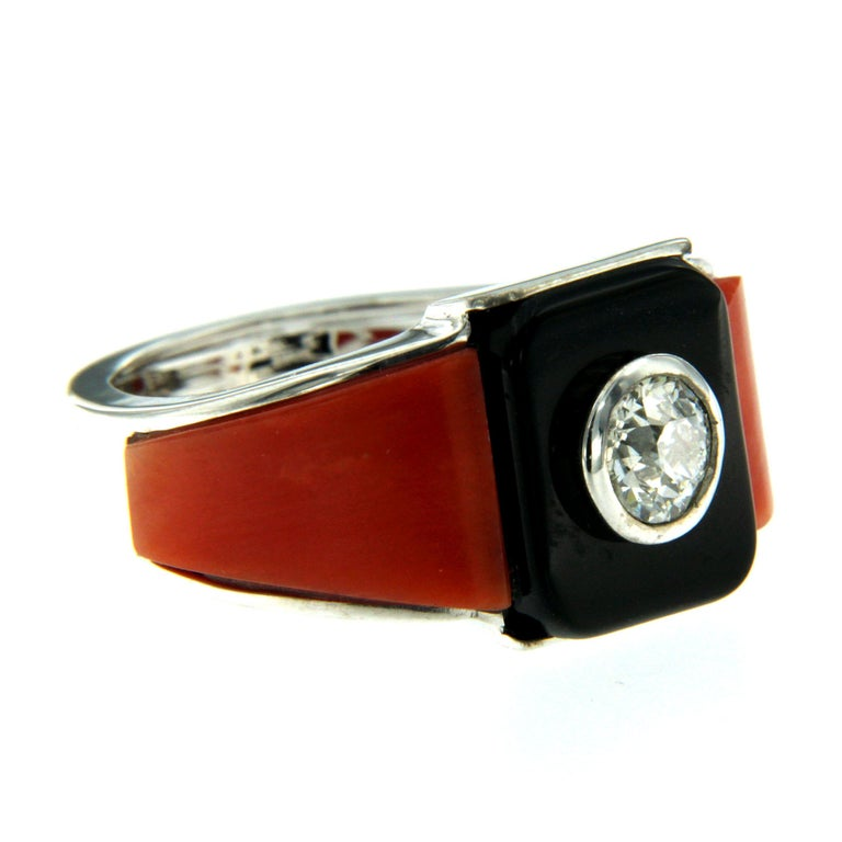 Old European Cut Art Deco Onyx Coral 0.85 Carat Diamond Gold Ring For Sale