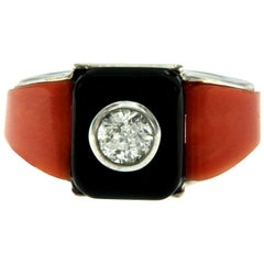 Art Deco Onyx Coral 0.85 Carat Diamond Gold Ring