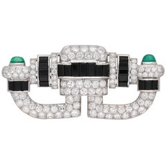 Art Deco Onyx, Diamond and Emerald Cabochon Brooch, circa 1925