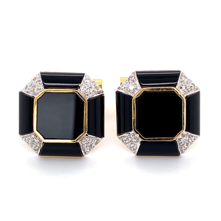 Classic Onyx and Diamond Dress Set comprising Pair of Cuff links and three matching Shirt Studs, each centering an onyx each corner  pave set with 60 Diamonds weighing approx. .50 total Carat weight. Approx. sizes: Cufflinks: 0.81