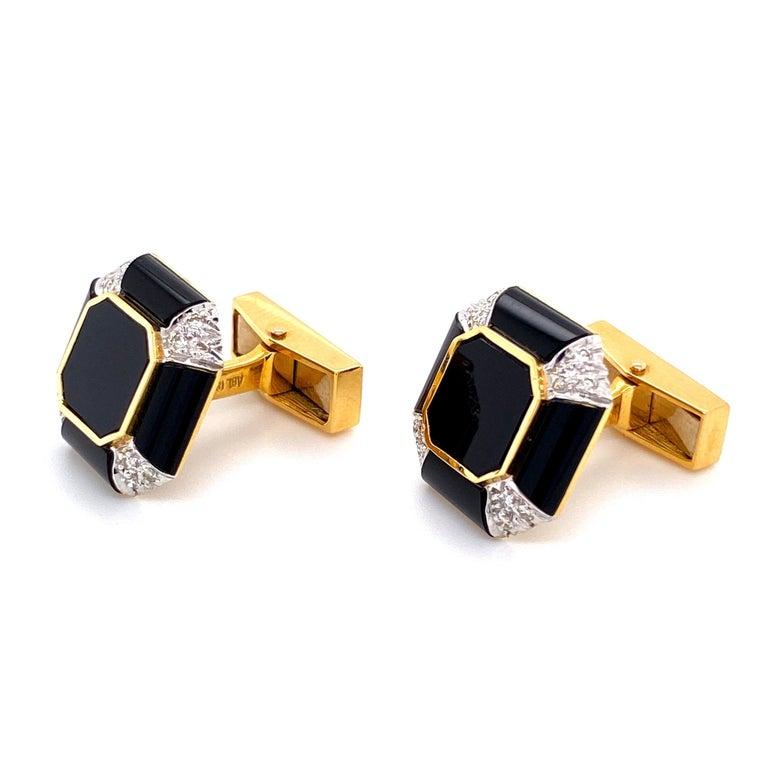 Mixed Cut Art Deco Onyx Diamond Gold Cufflink and Matching Shirt Stud Dress Set Estate For Sale