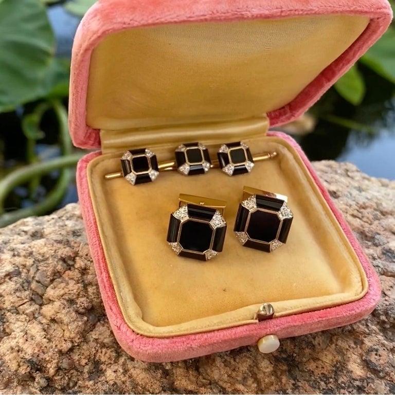 Art Deco Onyx Diamond Gold Cufflink and Matching Shirt Stud Dress Set Estate For Sale 3