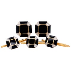 Art Deco Onyx Diamond Gold Cufflink and Matching Shirt Stud Dress Set Estate
