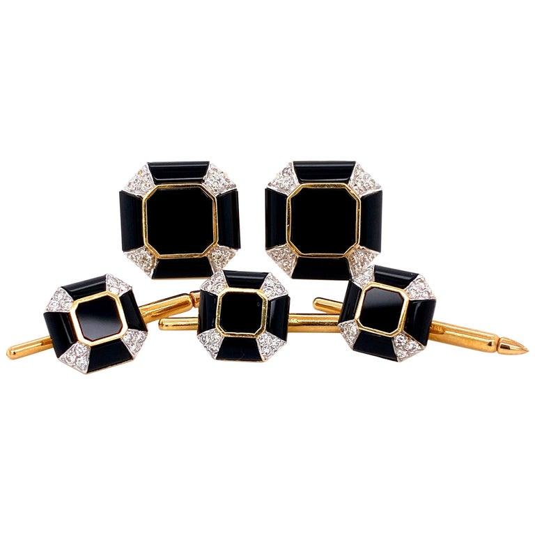 Art Deco Onyx Diamond Gold Cufflink and Matching Shirt Stud Dress Set Estate For Sale