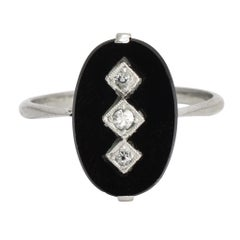 Art Deco Onyx Diamond Panel Ring