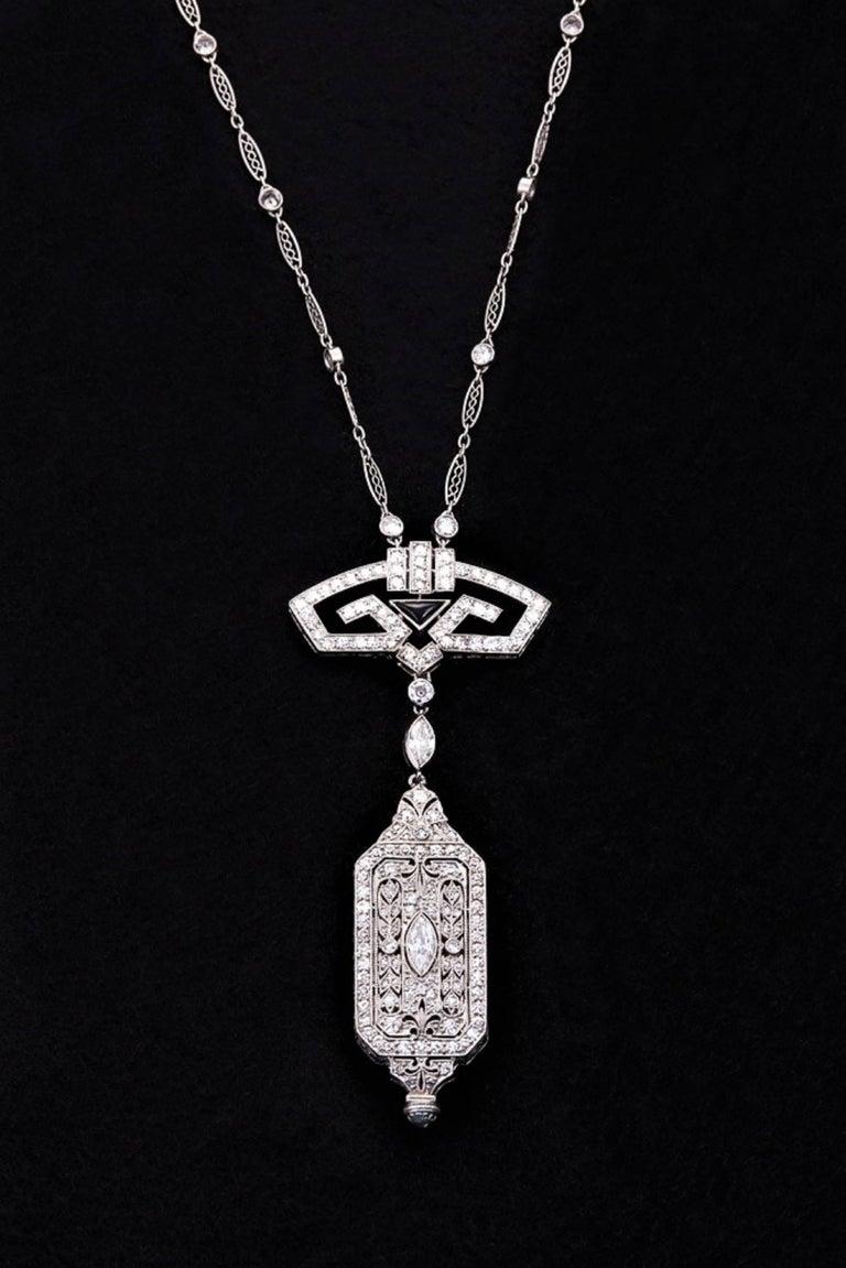 Women's Art Deco Onyx Diamond Platinum Pendant Watch and Chain For Sale