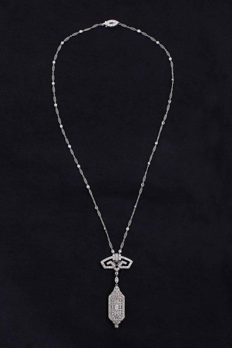 Art Deco Onyx Diamond Platinum Pendant Watch and Chain For Sale 1