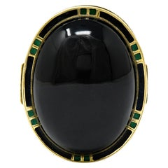 Art Deco Onyx Enamel 14 Karat Gold Cabochon Statement Ring