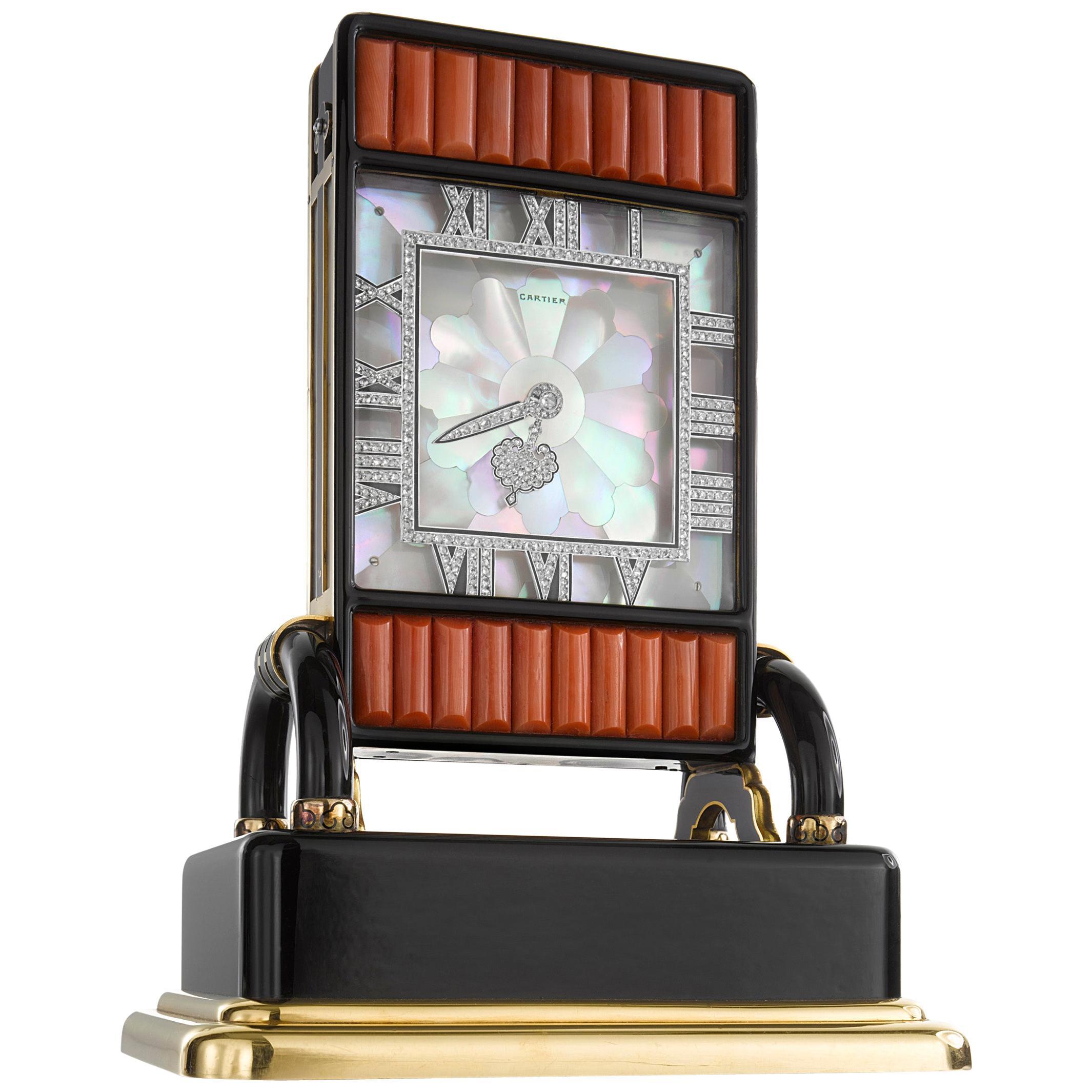Cartier Paris Art Deco Onyx, Enamel, Coral and Diamond Écran Clock, circa 1926