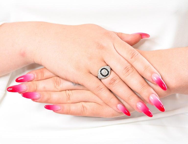 Art Deco Onyx Halo 2.50 Carat Diamond Platinum Bombe Band Ring For Sale 6