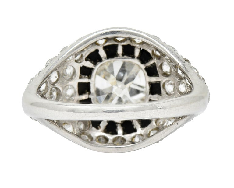 Art Deco Onyx Halo 2.50 Carat Diamond Platinum Bombe Band Ring In Excellent Condition For Sale In Philadelphia, PA