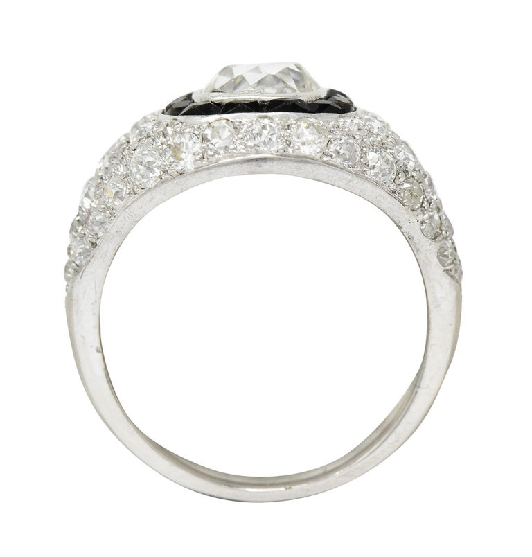 Art Deco Onyx Halo 2.50 Carat Diamond Platinum Bombe Band Ring For Sale 2