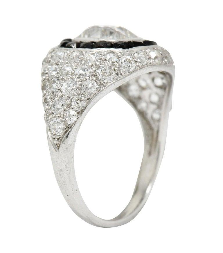 Art Deco Onyx Halo 2.50 Carat Diamond Platinum Bombe Band Ring For Sale 3