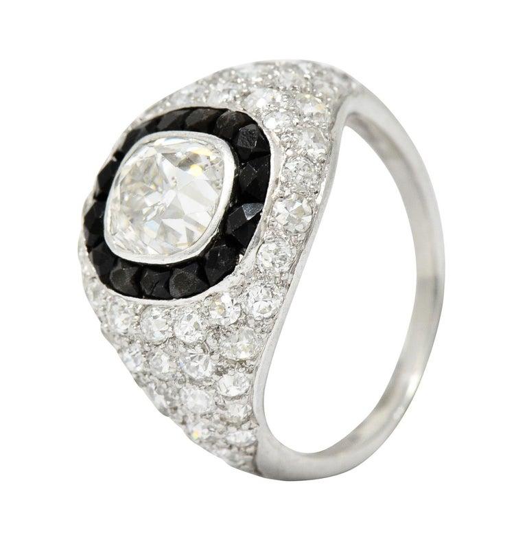 Art Deco Onyx Halo 2.50 Carat Diamond Platinum Bombe Band Ring For Sale 4