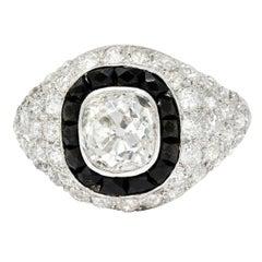 Art Deco Onyx Halo 2.50 Carat Diamond Platinum Bombe Band Ring