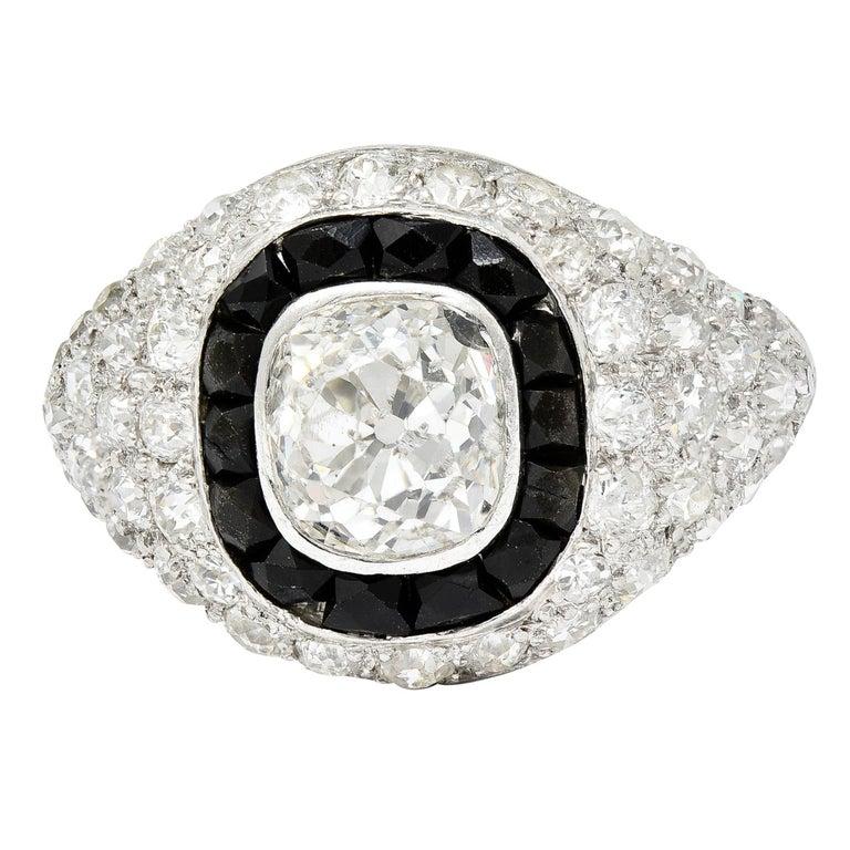 Art Deco Onyx Halo 2.50 Carat Diamond Platinum Bombe Band Ring For Sale