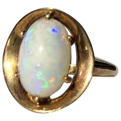 Art Deco Opal and 14 Carat Gold Cocktail Ring
