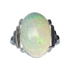Art Deco Opal and 18 Carat White Gold Ring