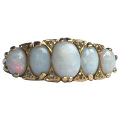 Art Deco Opal and 9 Carat Gold Five-Stone Ring
