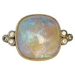 Art Deco Opal and Diamond 18 Carat Gold Ring