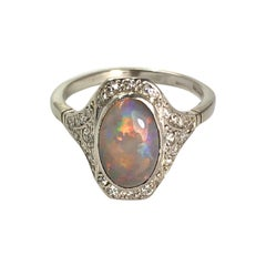 Art Deco Opal and Diamond 18 Carat White Gold and Platinum Ring