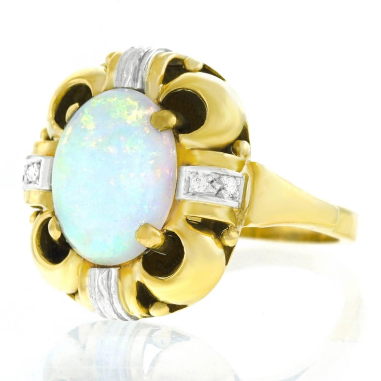 Art Deco Opal and Diamond Set Ring In Excellent Condition For Sale In Litchfield, CT