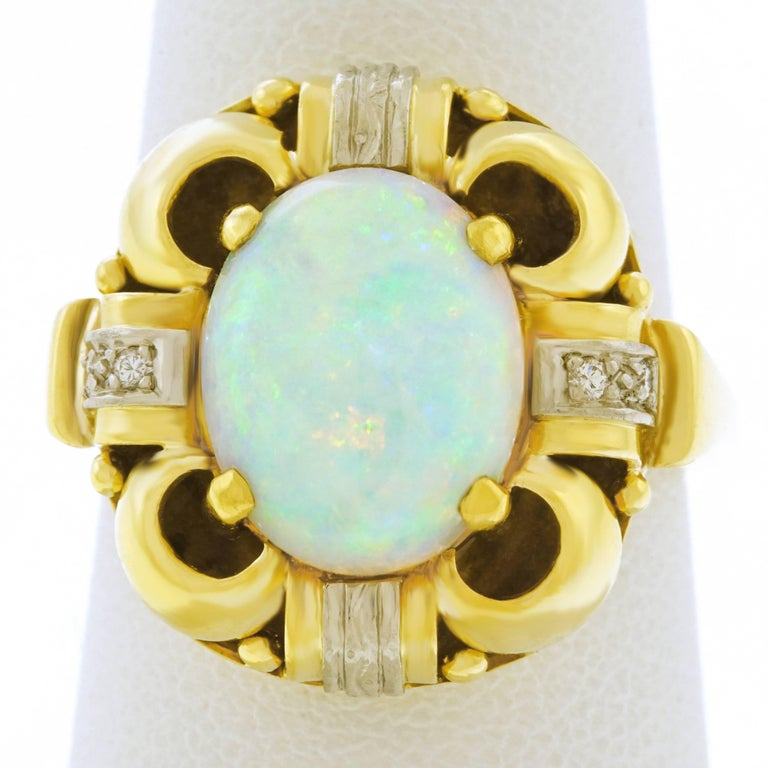 Art Deco Opal and Diamond Set Ring For Sale 4