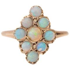 """Art Deco Opal Cabochon Navette """"Diamond"""" Shape Cluster"""