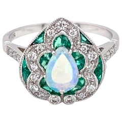 Art Deco Style Opal Diamond Emerald Cocktail Ring Estate Fine Jewelry