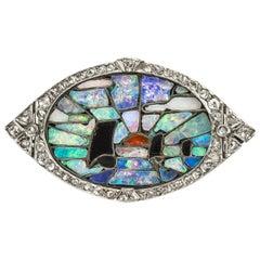 Art Deco Opal, Onyx and Diamond Mosaic Pendant