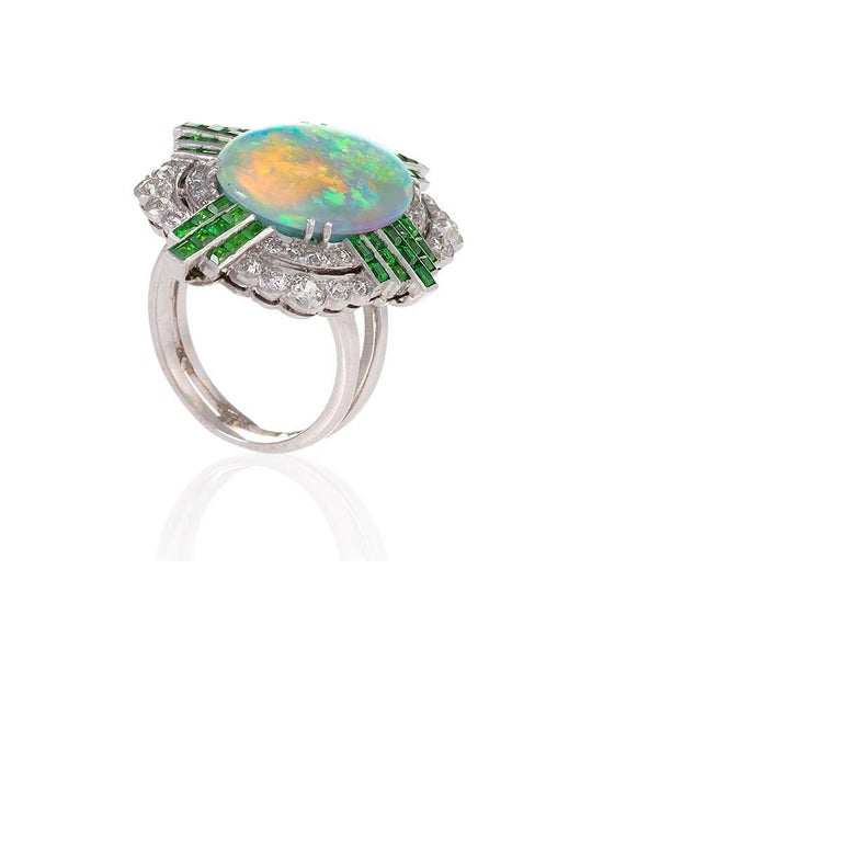 Art Deco Opal Ring with Diamonds and Demantoid Garnets In Excellent Condition For Sale In New York, NY