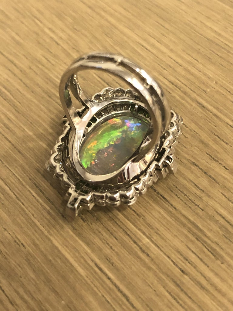 Women's Art Deco Opal Ring with Diamonds and Demantoid Garnets For Sale
