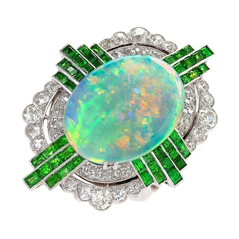 Art Deco Opal Ring with Diamonds and Demantoid Garnets For Sale
