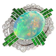 Art Deco Opal Ring with Diamonds and Demantoid Garnets