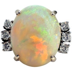 Australian Opal Ring with Diamonds in 18 Karat White Gold Art Deco