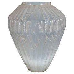 Art Deco Opalescent Handblown Vase with Geometric Patterns by Andre Hunebelle