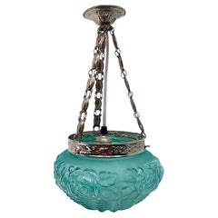Art Deco Opaline Aquamarine Green Glass and Engraved Brass Pendant Lamp