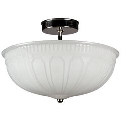 Art Deco Opaline Glass and Nickel Semi-Flush Mount Ceiling Light, Circa 1920