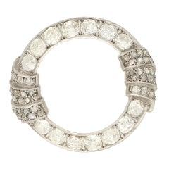 Art Deco Openwork Diamond Brooch in Platinum, Circa 1930's