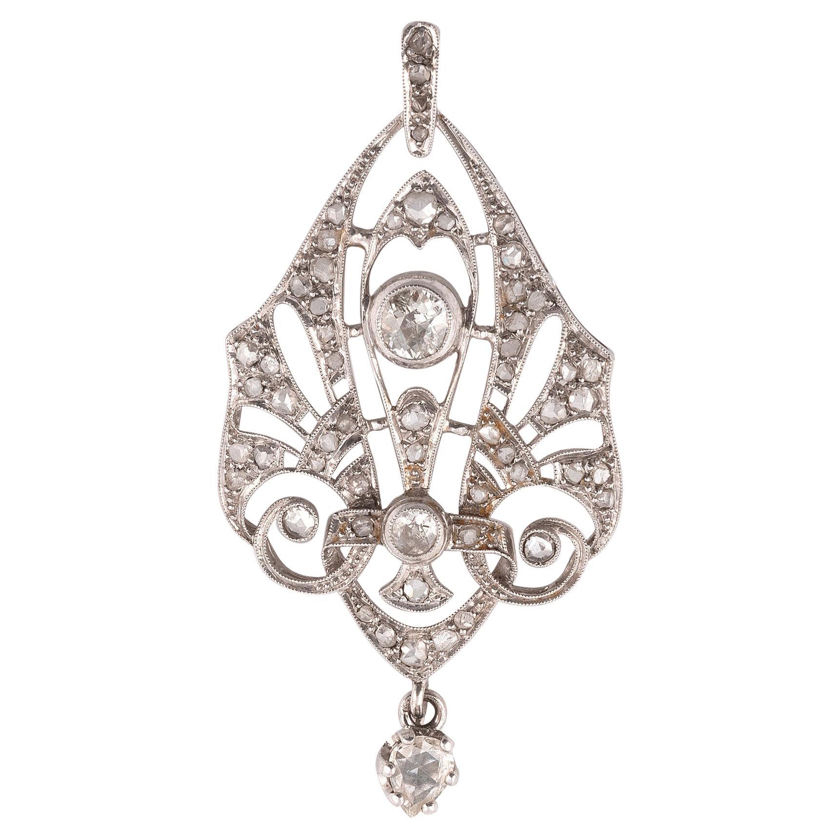 Art Deco' Openwork Platinum and Diamond Pendant