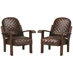 Art Deco or Late Arts & Craft Handwoven Leather Club Chairs