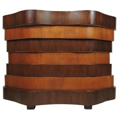 Art Deco or Mid-Century Modern Curved and Wavy Stacked Biomorphic Dry Bar
