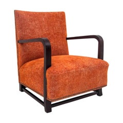 Art Deco Orange Armchair, 1960s